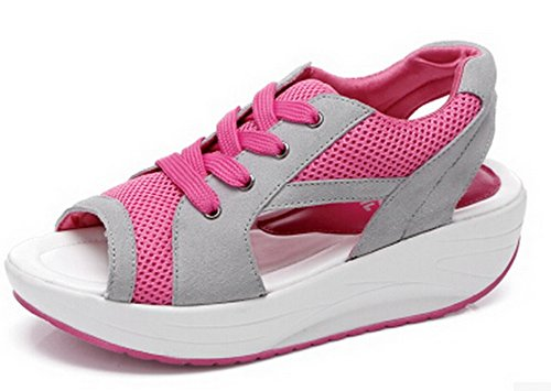 Tasny Sandals For Women Sport Fashion Cover Heel Pink 5