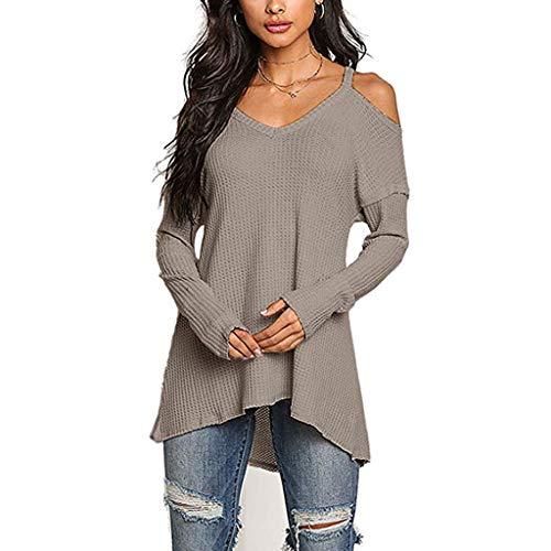 Xturfuo 2019 Spring Women's Long Sleeve Off Shoulder Sling Irregular Hem Top Brown (Gildan Sweatshirt Embroidered)