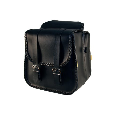- Dowco Willie & Max 58230-20 Braided Series: Synthetic Leather Straight Motorcycle Saddlebag Set, Black, Universal Fit, 8 Liter Each/16 Liter Total Capacity