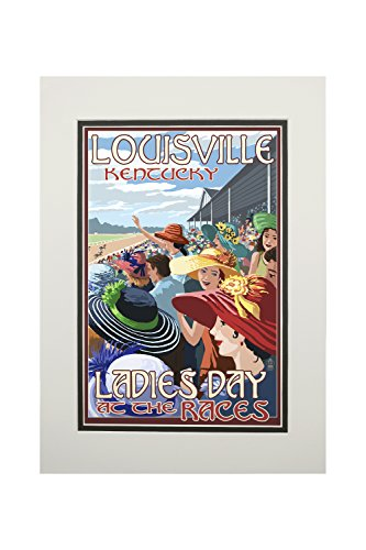 Louisville, Kentucky - Ladies Day at the Track Horse Racing (11x14 Double-Matted Art Print, Wall Decor Ready to Frame)