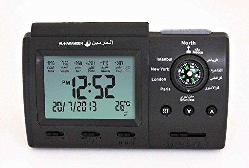 Islamic Muslim Azan Alarm Clock With Qibla Compass (Black)