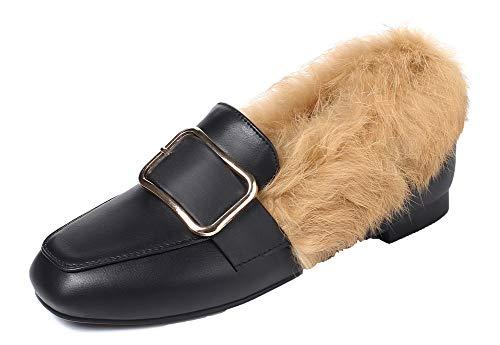 Chaussures Mélangee Noir Talon Gmbdb010800 Légeres Unie Agoolar Femme À Bas Couleur Matière Sxq814