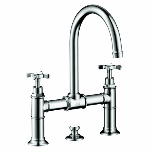 - Axor 16510001 Montreux Widespread Faucet Model Bridge with Cross Handle in Chrome