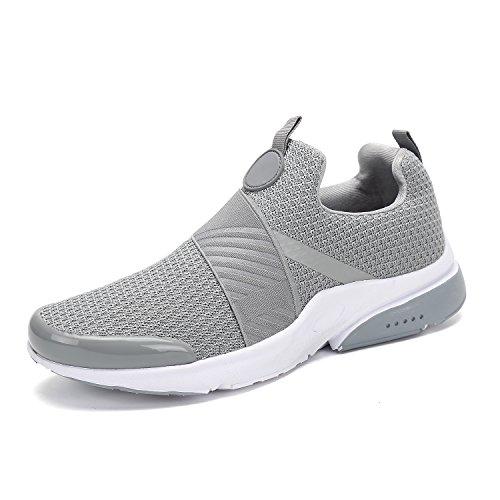 Mishansha Men Women Fashion Sneakers Breathable Mesh Comfortable Lightweight Walking Shoes Slip-On Running Soft Grey (Best Soft Running Shoes)