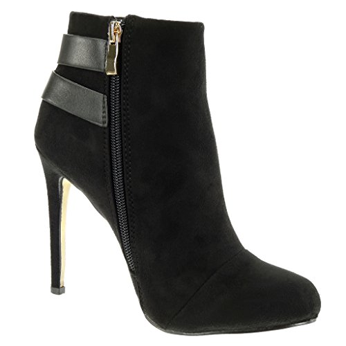 Ankle Booty Fancy Shoes heel Stiletto CM sexy Fashion Black boots buckle Chic 11 Angkorly high stiletto Women's golden studded q4wSff