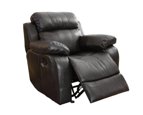 Homelegance 9724BLK-1 Rocker Reclining Chair, Black Bonded Leather