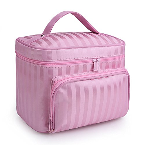 DRQ Large Cosmetic bags-Multifunction Portable Travel Toiletry Bag Cosmetic Makeup bags with Mirror for Women Skincare Cosmetic Pouch Organizer (A type-Pink)