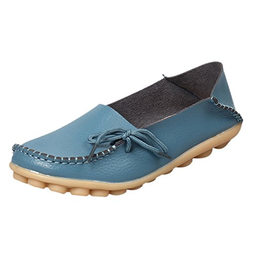 Loafers 1 Shoes Leather Blue Casual Moccasins Women's Driving Flats fereshte Lake 8Uq1BYww