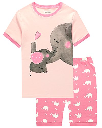 Short Girls Pajamas - HYY Kids Girl Pajama Short Sets 100% Cotton Summer Sleepwear Elephant size2T-12years(Elephant 6T)