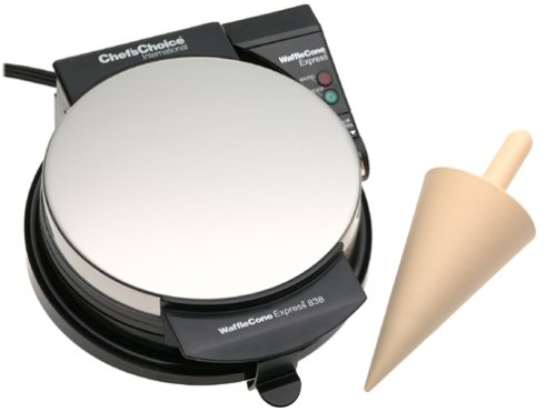 Chef'sChoice 838 WaffleCone Express Nonstick Ice Cream Cone Maker Creates Delicious Homemade Sugar and Waffle Cones Easy to Clean, (Silver Ice Cream Cone)