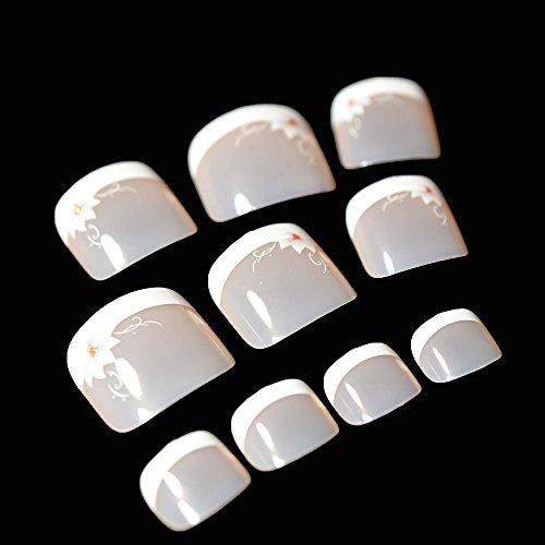 EchiQ - 24 piezas de uñas postizas de punta francesa para pies de color blanco nude rosa lirio flor puntas de uñas de punta corta cuadrada para ...