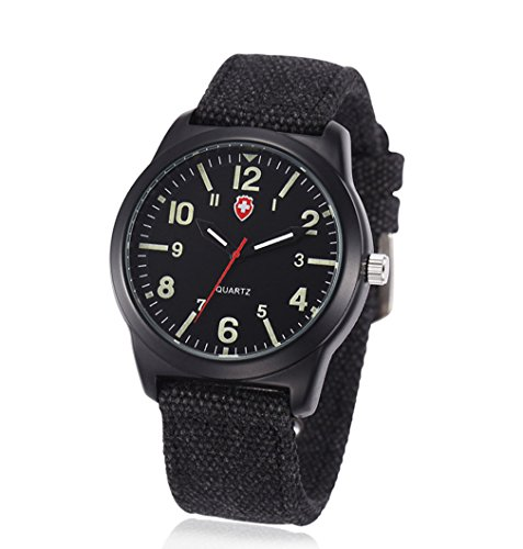 Vavna Fashion Unisex Canvas Strap Swiss Army Quartz Crime Watch Military Sport Wrist Watches - Army Black