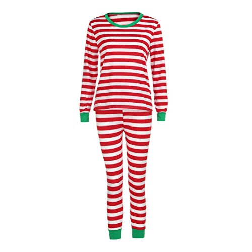 Hot Sale! Napoo Family Couple Matching Christmas Pajamas Set Striped Blouse +Pants (Women L, Red) for $<!--$15.99-->