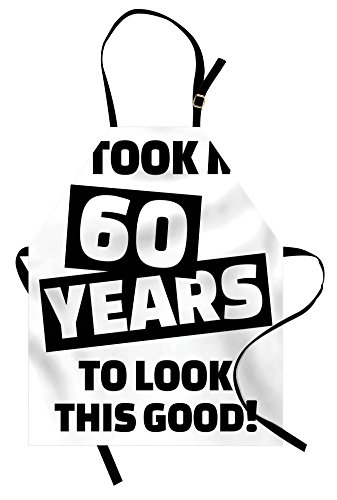 Ambesonne 60th Birthday Apron, It Took Me 60 Years Party Words Slogan Admiration Theme Monochrome Image, Unisex Kitchen Bib Apron with Adjustable Neck for Cooking Baking Gardening, White and Black]()