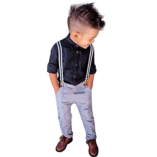 YiZYiF Jungen Baby Bekleidungsset Formal Smoking Anzug Langärmelige Shirt + Trägerhose Outfits Gr. 86-110 (98 (Herstellergröße:110), Blau)
