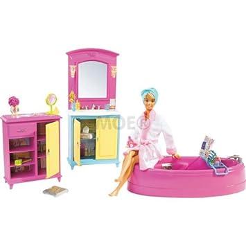 Amazon Es Barbie B6276 Cuarto De Bano Set De Juego Juguetes Y Juegos