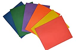 Two Pocket Embossed Paper Folders with Card Holder. Assorted Colors, Pack of 10