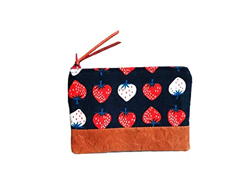 Strawberry Leather Change Purse, Coin Wallet, Strawberry Coin Pouch, Zipper Wallet by 144 Collection