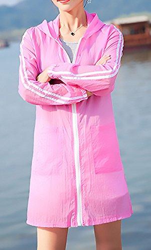 Solar Largas Larga Y Elegantes Verano Proteccion Encapuchado Abrigo Moda Abrigos Casual De Secciones Cremallera Rosa Mujeres Estampadas Manga Outerwear Anchos Beach Casuales Con Mujer Flor Outwear BTqxxzU