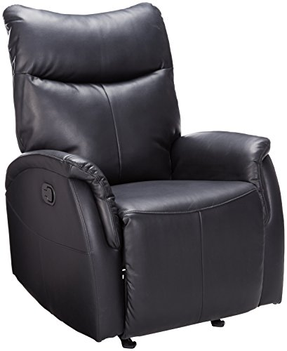 Black Contemporary Rocker Recliner (ACME Riso Black Leather-Aire Rocker Recliner)