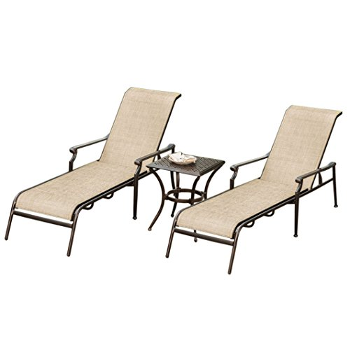 Ice Cooler Carts Bali Cast Aluminum & Sling 3 Piece Set with Two Chaise Lounges and Side Table, Antique Bronze
