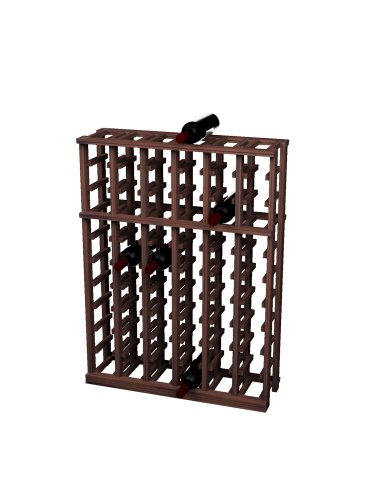Wine Cellar Innovations Rustic Pine Individual Half Height Wine Rack for 66 Wine Bottles, 6 Column, Dark Walnut Stained