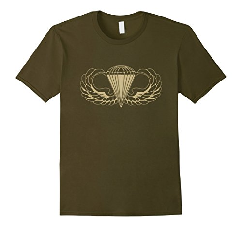 Mens US Army Parachute wings badge airborne ODG T-Shirt Medium - Wings Army Parachute