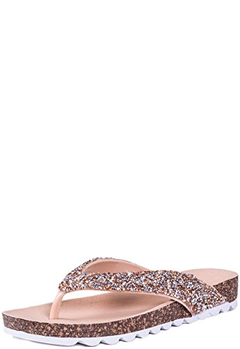 Spylovebuy Women's Glitter Toe Thong Flip Flop Flat Sandals Shoes Gold Leather Style