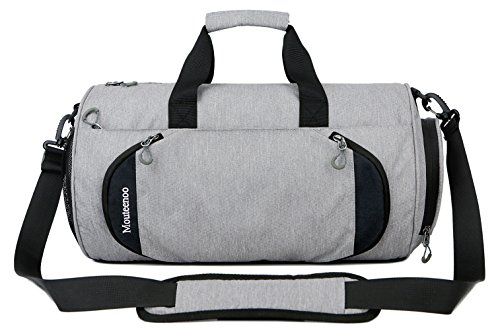 Gym Sports Small Duffel Bag for Men and Women with Shoes Compartment - Mouteenoo (X-Small, Grey)