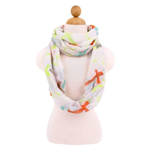 Cross Scarf (Premium Cross Design Infinity Loop Fashion Scarf, Multi White)