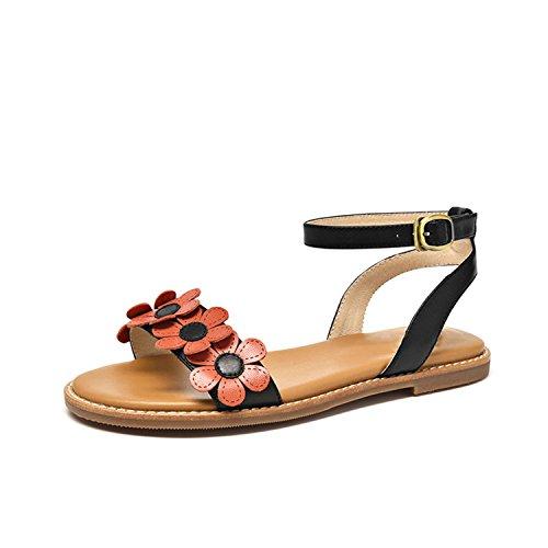 Lady Nerefy Handmade Strap Top Ankle Black Leather Women Appliques Summer Sandals Genuine Flats Sheepskin r4n7qzwr1Y