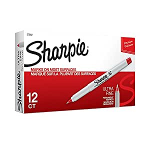 Sharpie Permanent Markers, Ultra Fine Point, Red, 12 Count