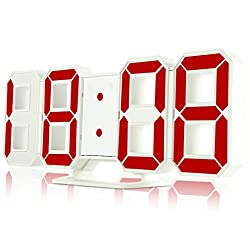 Wall Clock 3D Led Digital 24-12 Hours Display 3 Brightness Levels Dimmable white red