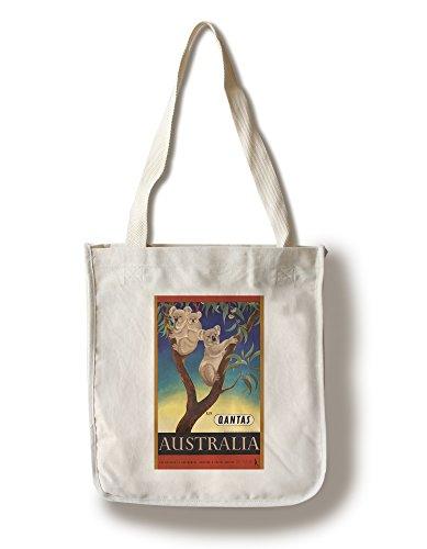 Lantern Press Qantas - Australia (Artist: Mayo, Eileen) Australia c. 1953 - Vintage Advertisement (100% Cotton Tote Bag - Reusable)