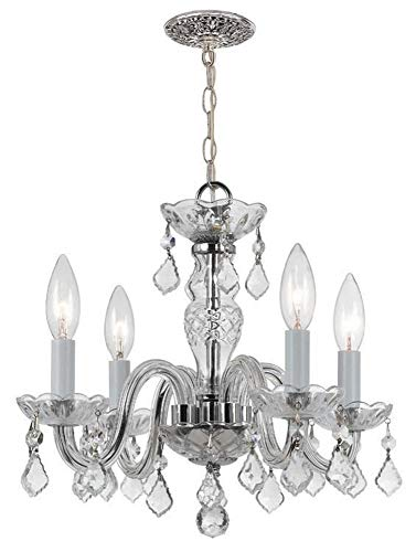 Crystorama 1064-CH-CL-I Traditional Crystal - Four Light Mini Chandelier, Polished Chrome Finish with Italian Crystal