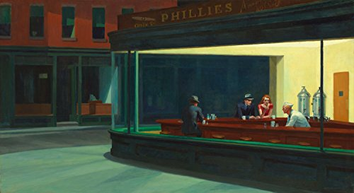 Edward Hopper - Nighthawks, Size 14x24 inch, Poster art print Wall Decor by Get Custom Art