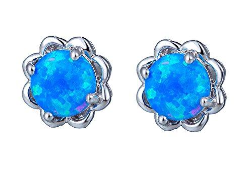 Easthors 6mm Fire Opal Earrings For Women Engagement Flower 925 Sterling Silver Studs (Blue) (Silver Created Flower Opal Ring)