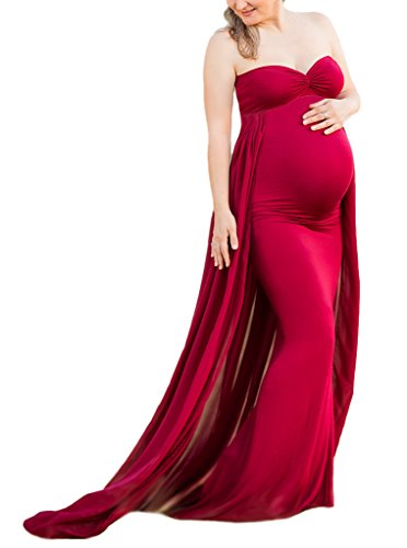 Maternity Gown Fitted Maxi Gown, Long Maternity Tube Dress Photography Photo Shoot, Baby Shower (M, Wine red) by myzeroing