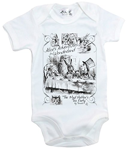 Dirty Fingers, The Mad Hatter's Tea Party, Alice in Wonderland, Baby Bodysuit, 6-12m, White