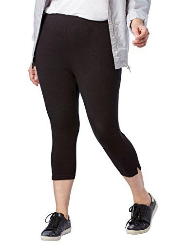 Woman Within Plus Size Stretch Cotton Capri Legging - Black, S