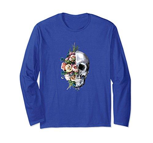Unisex Women Flower Skull Longsleeve Sugar Roses for Girl Halloween Medium Royal Blue