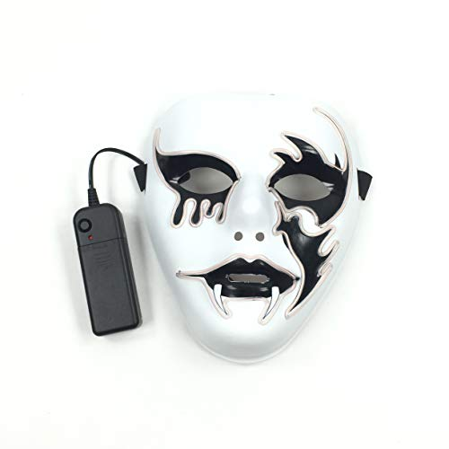 XICHUANG el Wire Light up led mask,Nightlife Scary Blood Tear Demon Wire Halloween Cosplay mask for Parties. White -