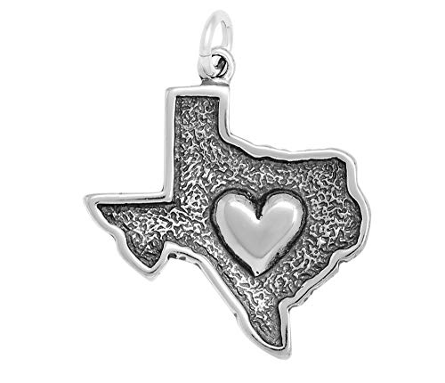 - Raposa Elegance Sterling Silver Heart in Texas Map Charm (approximately 22 mm x 21.5 mm)