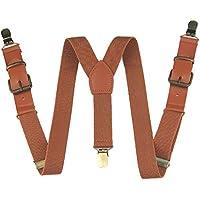 Y-sharp Pants Suspenders Boys, Yienws Brown 3 Clasp Strap Braces Suspenders for Children Kids Adjustable Patch Leather Suspenders