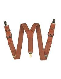 Yienws Kids Suspenders Brown Leather Strap Braces Boys Suspenders for Pants
