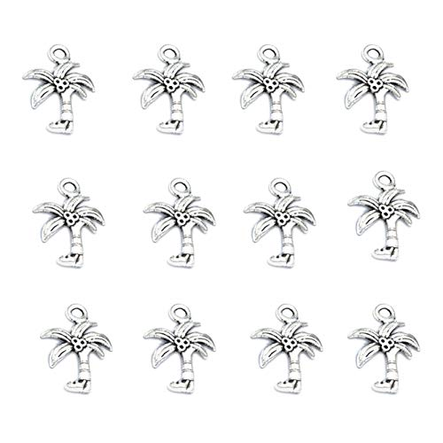 Charm Tree Pendant Palm - 50pcs Vintage Antique Silver Alloy Palm Tree Coconut Charms Pendant Jewelry Findings for Jewelry Making Necklace Bracelet DIY 22x16mm (50pcs)