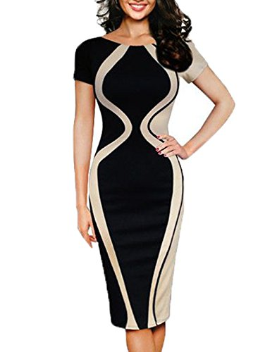 WOOSEA-Womens-Optical-Illusion-Colorblock-Contrast-Slim-Work-Pencil-Dress