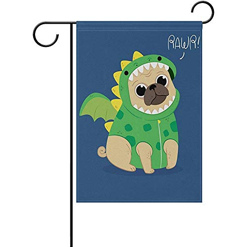 Cute Pug with Dragon Costume Polyester Garden Flag