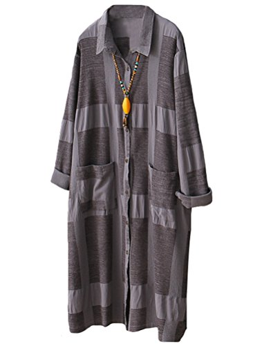 Minibee Women's Button Down Shirts Blouses Dress Casual Loose Fit (2XL, Gray) by Minibee