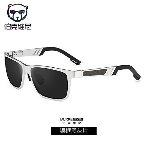 de conducción KOMNY magnesio chip Black blue y de Frame gafas Silver equitación sol Macho de caja de moda sol de Ash la polarizados de plata gafas masculina espejo aluminio de r4T6Aqrwa